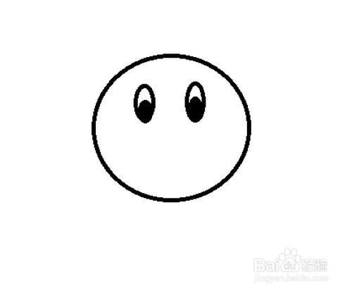3 画右边的眼睛,涂上黑色的眼珠子. 4 画它的嘴巴.图片