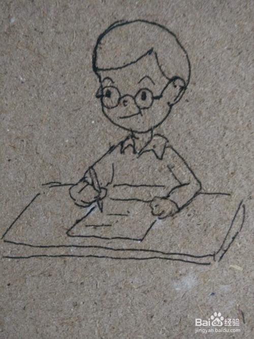 怎么画小学生写作业的简笔画过程