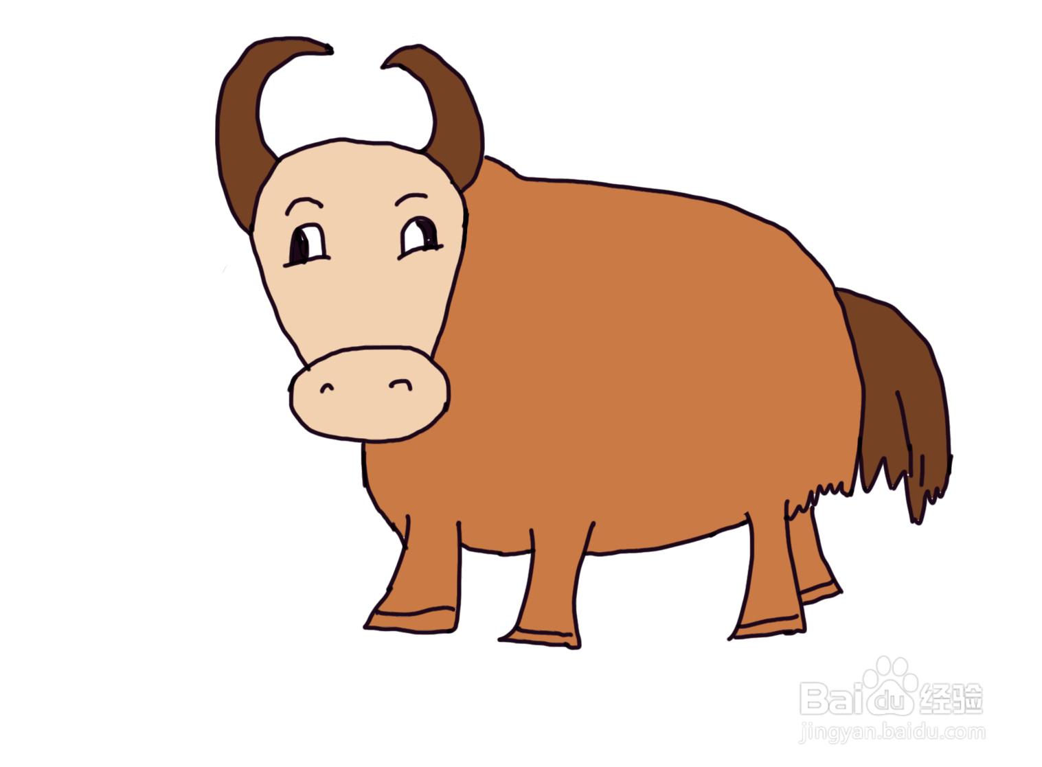 怎么画儿童彩色简笔画卡通动物小牛?