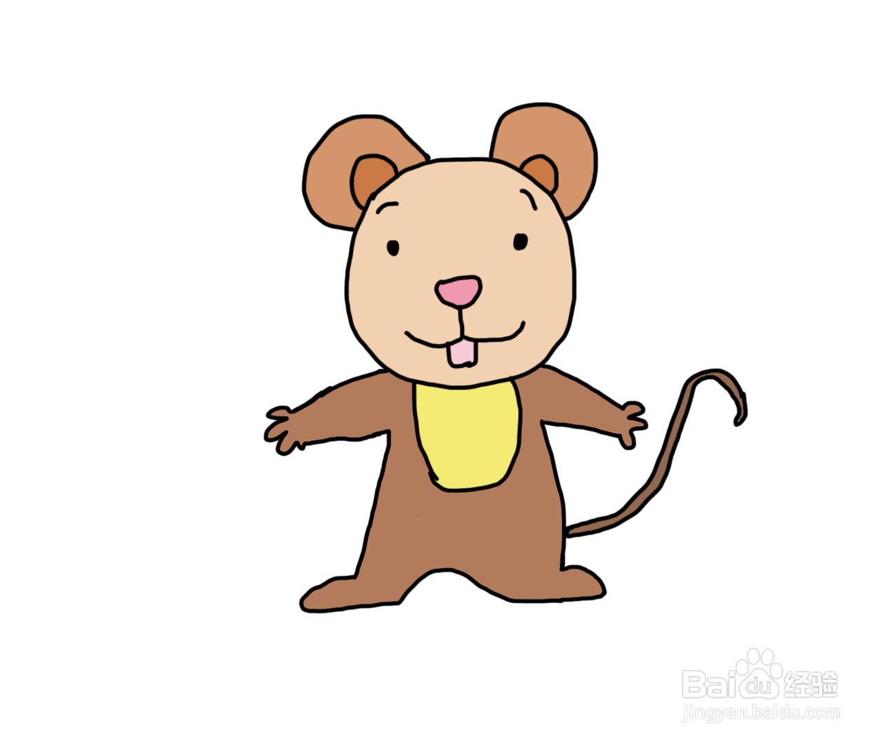 怎么画儿童彩色简笔画卡通动物老鼠?