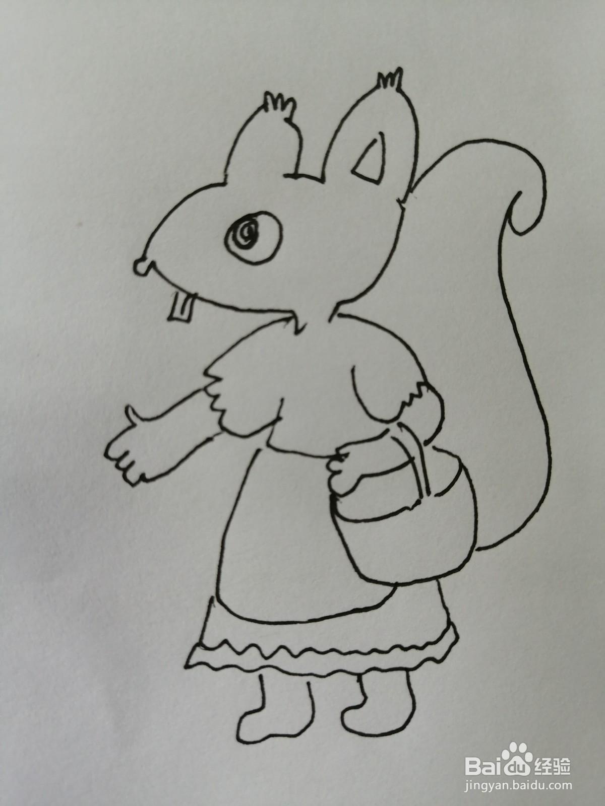 可爱的松鼠妈妈怎么画