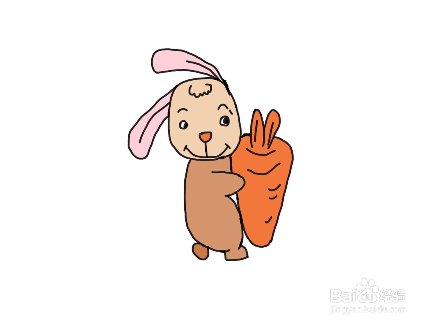 怎么画儿童彩色简笔画动物抱着萝卜的小...