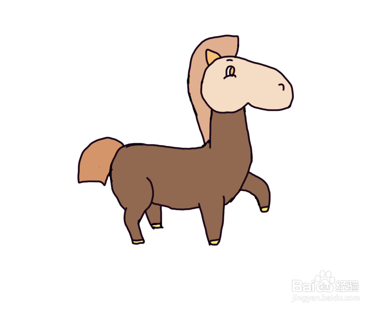 怎么画儿童彩色简笔画卡通动物小马?