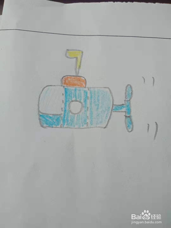潜水艇的创意简笔画