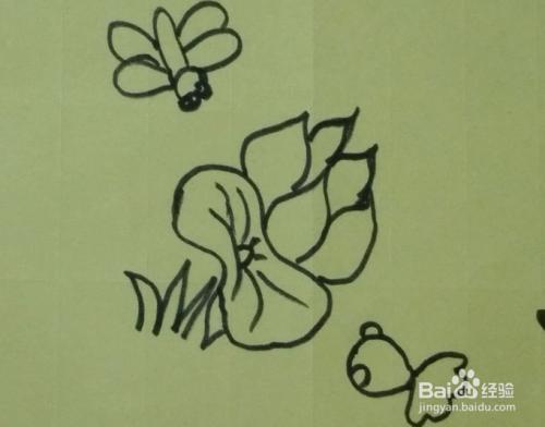 简笔画池塘里的美 蜻蜓荷花小金鱼的画法
