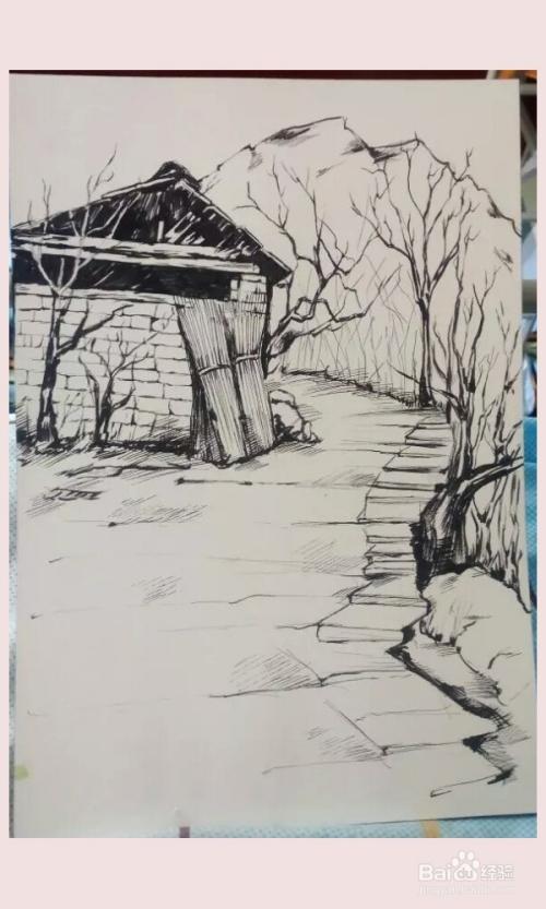 风景绘画中学生_如何画好风景写生之太行山风景速写-百度经验