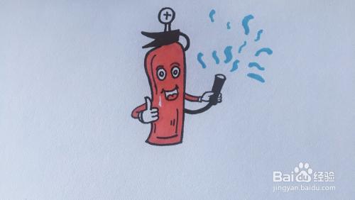 卡通灭火器简笔画