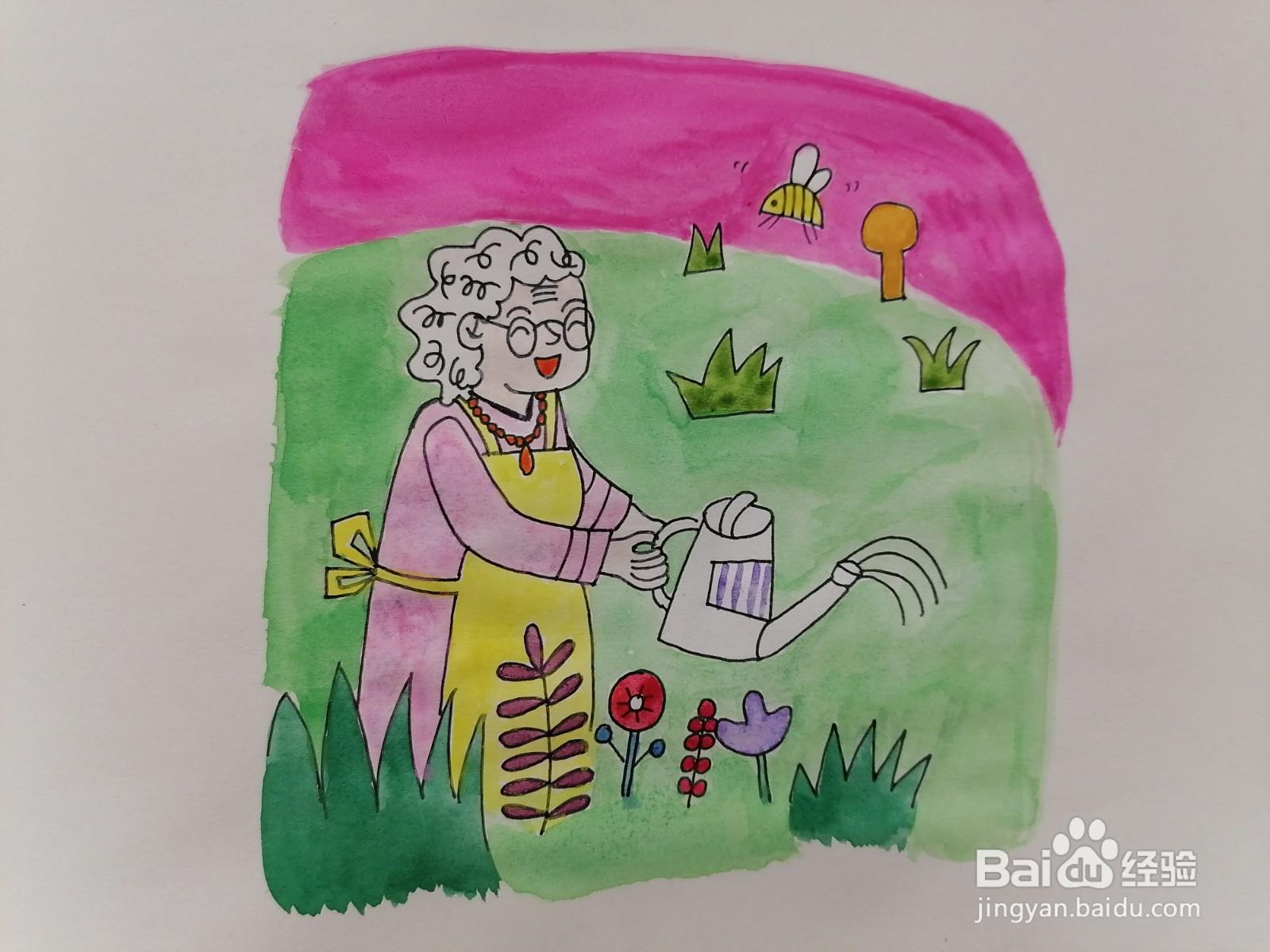 在花园浇花的老婆婆用水彩怎么画
