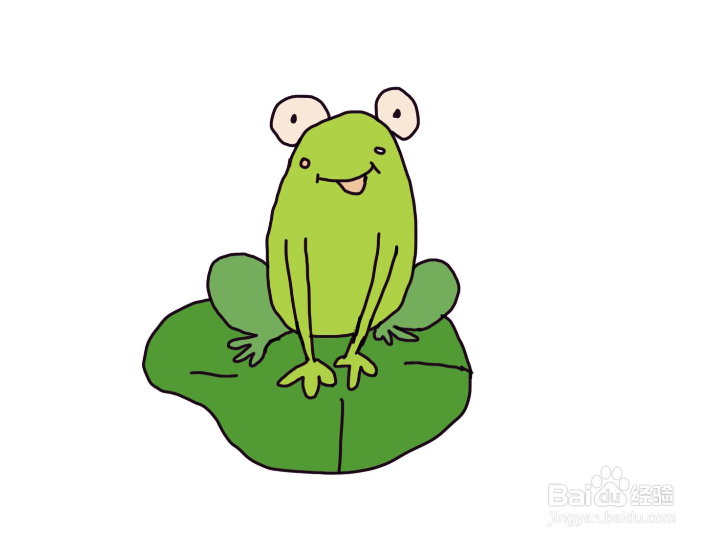 怎么画儿童彩色简笔画卡通动物小青蛙?
