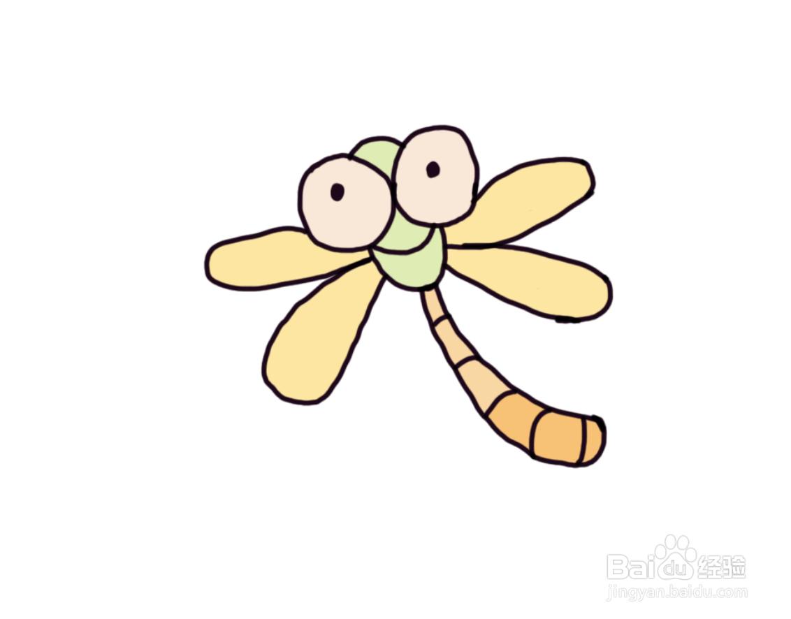怎么画儿童彩色简笔画卡通动物小蜻蜓?