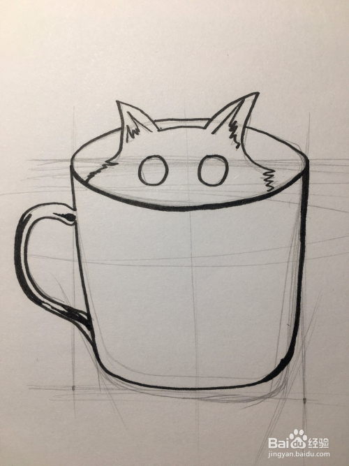 画杯子里露出的猫头 杯子简笔画